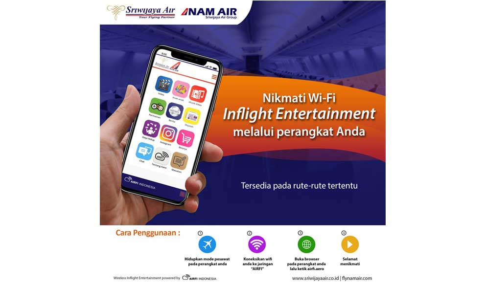 Sriwijaya & Nam Air new wifi in-flight entertainment
