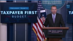 White House Office of Management and Budget director Mick Mulvaney details the Trump administration's fiscal year 2018 budget proposal. ATW screenshot